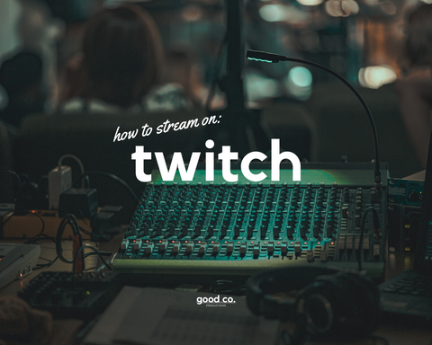 'how to stream on twitch', sound system equipment in the background, green light