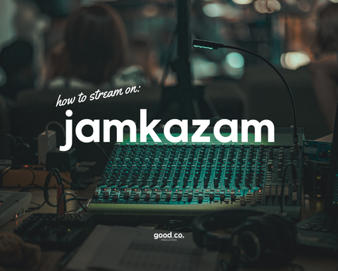 'how to stream on jamkazam', sound equipment in the background, green light