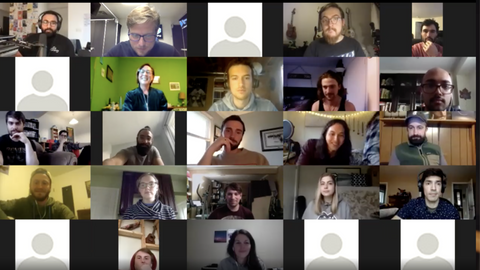 A screenshot of a zoom call, many different men and women on the call in their respective squares, local musicians, local movers, local shakers