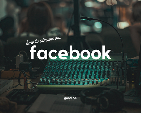 'how to stream on Facebook', sound equipment in the background, green light