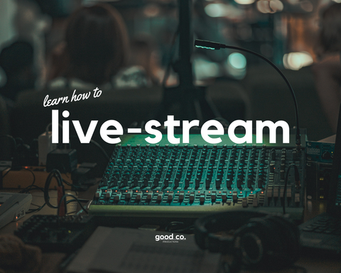 'learn how to live-stream', sound system equipment in the background, green light