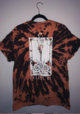 Black  and orange Acid Wash T-Shirt with 'excuse me.' graphic on the back