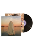 a record with a ghost on it over lay on a body of water with the sun setting in the background