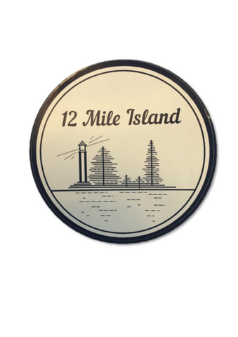 '12 Mile Island' sticker with lamp post and tree graphics