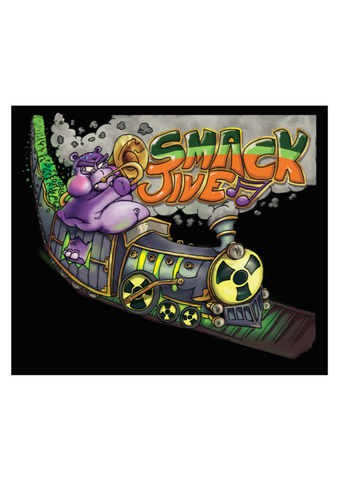 graphic of a hippo on a train with the text 'smack jive'