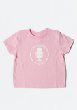 pink children's t-shirt 'midtown radio'  with white microphone graphic