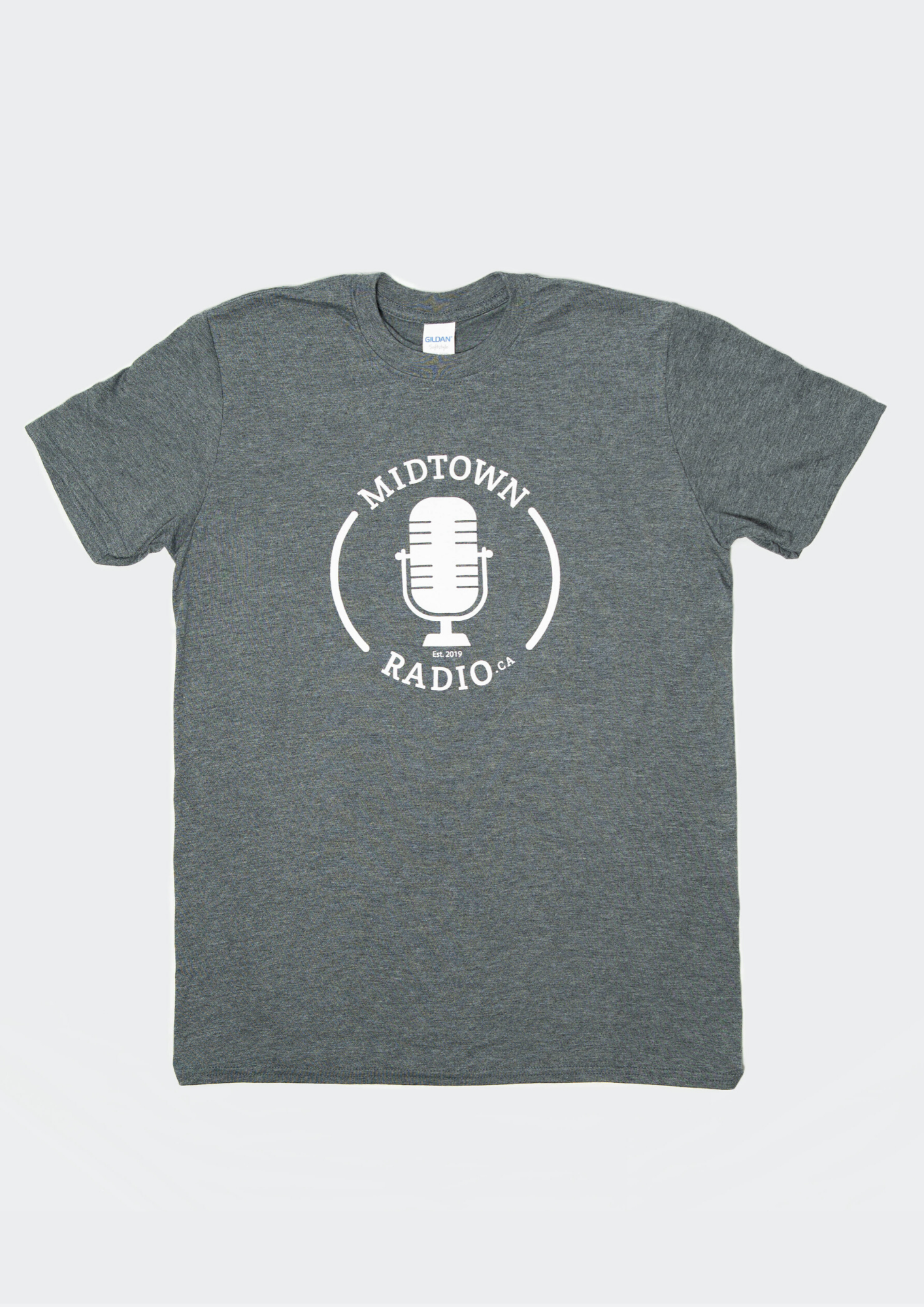 grey logo t-shirt with 'midtown radio' text with white graphic microphone