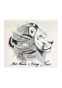 a drawn lion with 'Matt Wheeler & Vintage Heart' written across the bottom