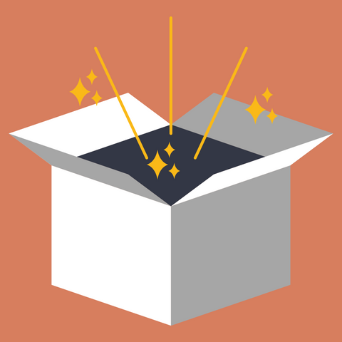 graphic of box with sparkles coming out of it