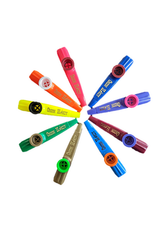 red, orange, blue, purple, burgundy, light blue, army green, lime green, yellow Kazoos arranged in a star