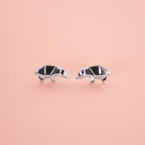 Bear Origami Rhodium Enhanced Sterling Silver Stud Earrings