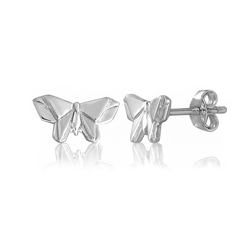 Butterfly Origami Rhodium Enhanced Sterling Silver Stud Earrings