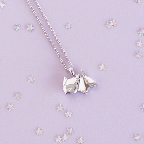 Cat Origami Rhodium Enhanced Sterling Silver Necklace 40-45cm