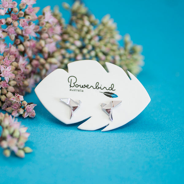 Dove Origami Rhodium Enhanced Sterling Silver Stud Earrings