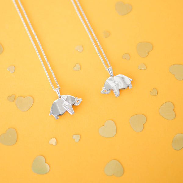Elephant Origami Rhodium Enhanced Sterling Silver Necklace 70-80cm