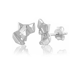 Fox Origami Rhodium Enhanced Sterling Silver Stud Earrings
