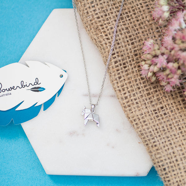 Horse Origami Rhodium Enhanced Sterling Silver Necklace 40-45cm
