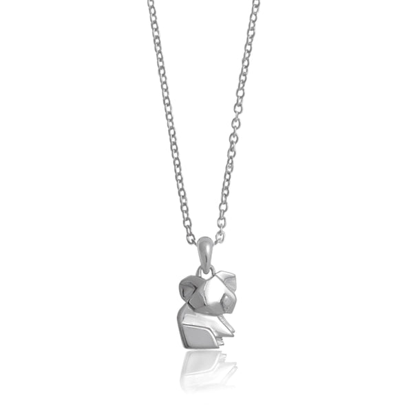 Koala Origami Rhodium Enhanced Sterling Silver Necklace 40-45cm