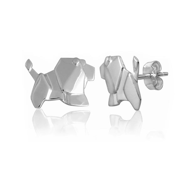Lion Origami Rhodium Enhanced Sterling Silver Stud Earrings