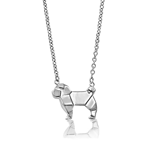 Pug Origami Rhodium Enhanced Sterling Silver Necklace 40-45cm
