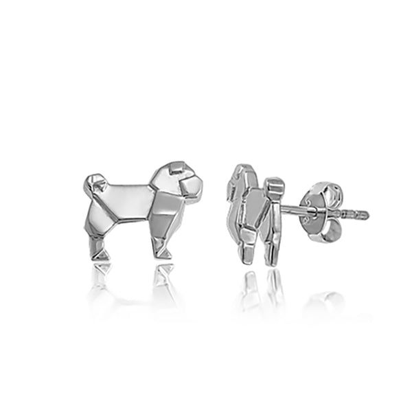 Pug Origami Rhodium Enhanced Sterling Silver Stud Earrings