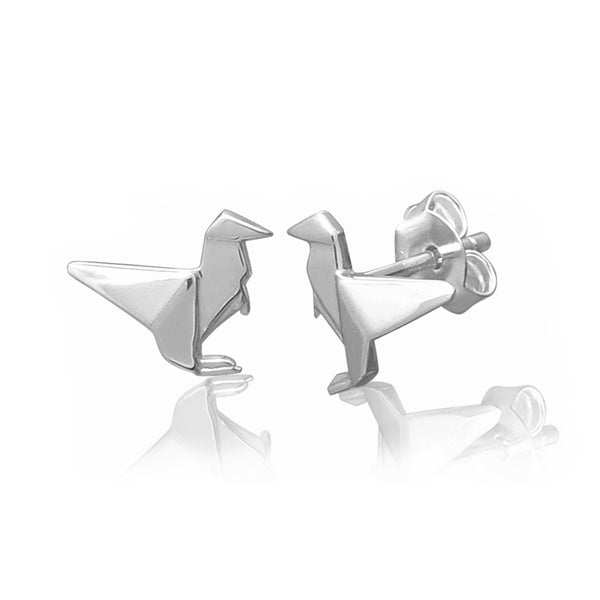 Raptor Origami Rhodium Enhanced Sterling Silver Stud Earrings