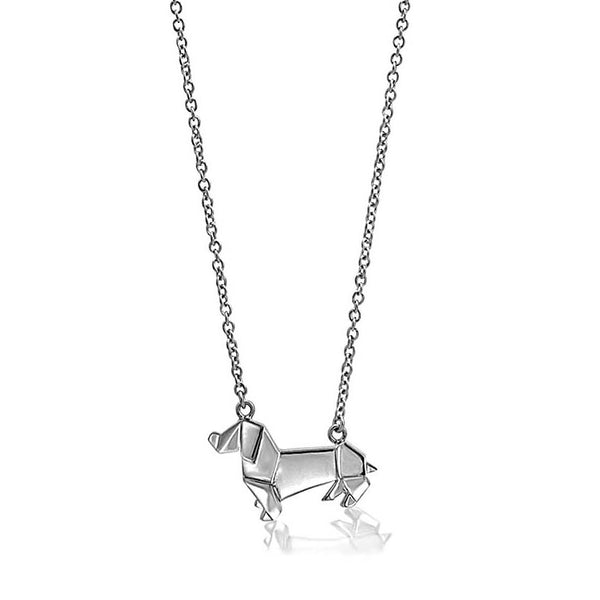 Sausage Dog Origami Rhodium Enhanced Sterling Silver Necklace 40-45cm