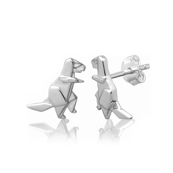 T-Rex Origami Rhodium Enhanced Sterling Silver Stud Earrings
