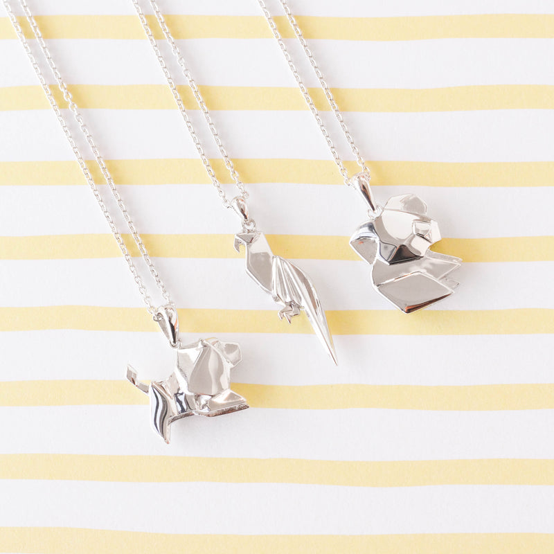 Parrot Origami Rhodium Enhanced Sterling Silver Necklace 70-80cm