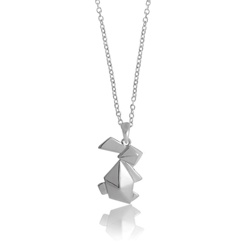 Bunny Origami Rhodium Enhanced Sterling Silver Necklace 40-45cm