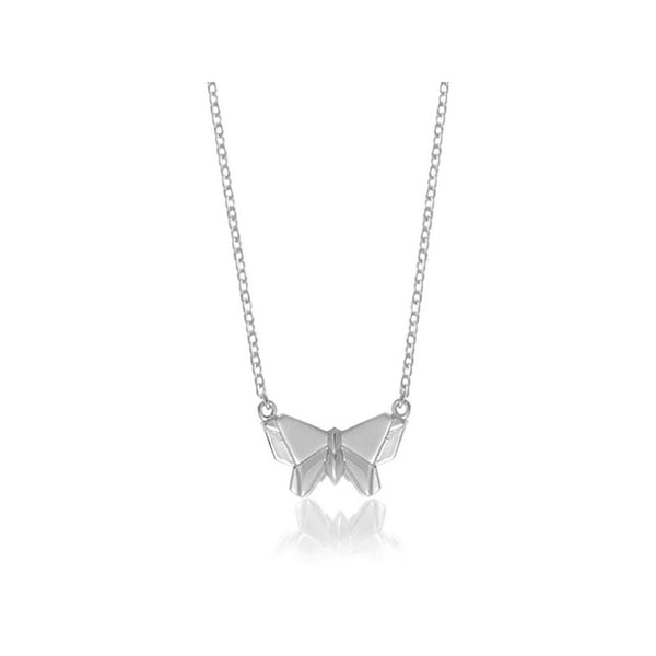 Butterfly Origami Rhodium Enhanced Sterling Silver Necklace 40-45cm