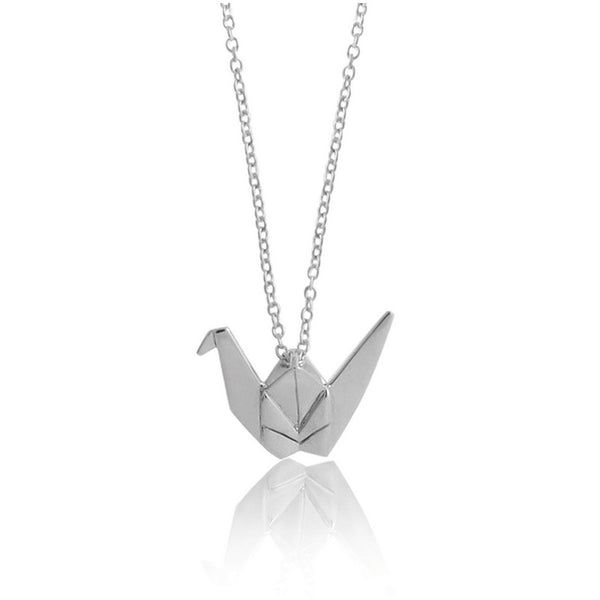 Crane Origami Rhodium Enhanced Sterling Silver Necklace 40-45cm