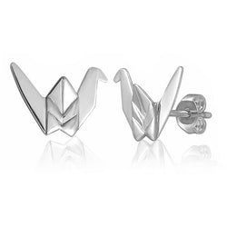 Crane Origami Rhodium Enhanced Sterling Silver Stud Earrings