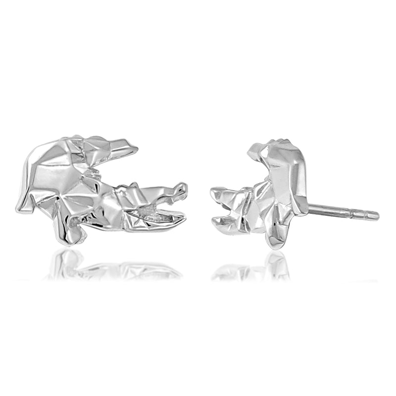 Crocodile Origami Rhodium Enhanced Sterling Silver Stud Earrings