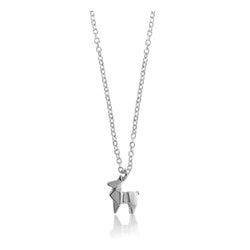 Deer Origami Rhodium Enhanced Sterling Silver Necklace 40-45cm