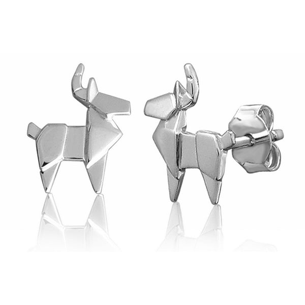 Deer Origami Rhodium Enhanced Sterling Silver Stud Earrings