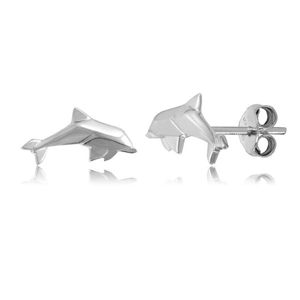 Dolphin Origami Rhodium Enhanced Sterling Silver Stud Earrings
