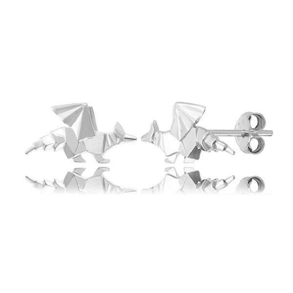 Dragon Origami Rhodium Enhanced Sterling Silver Stud Earrings