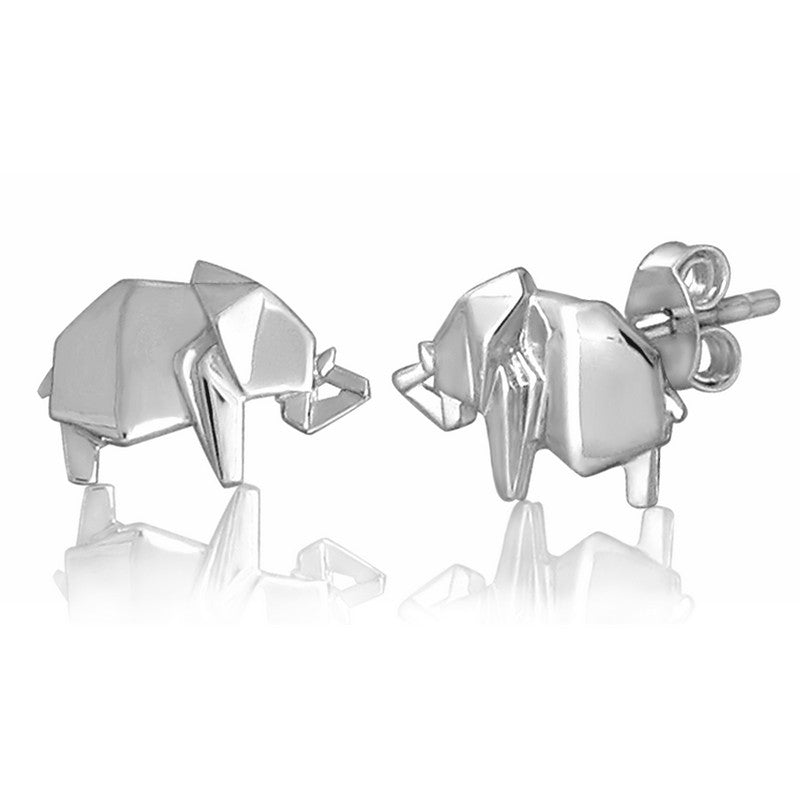 Elephant Origami Rhodium Enhanced Sterling Silver Stud Earrings