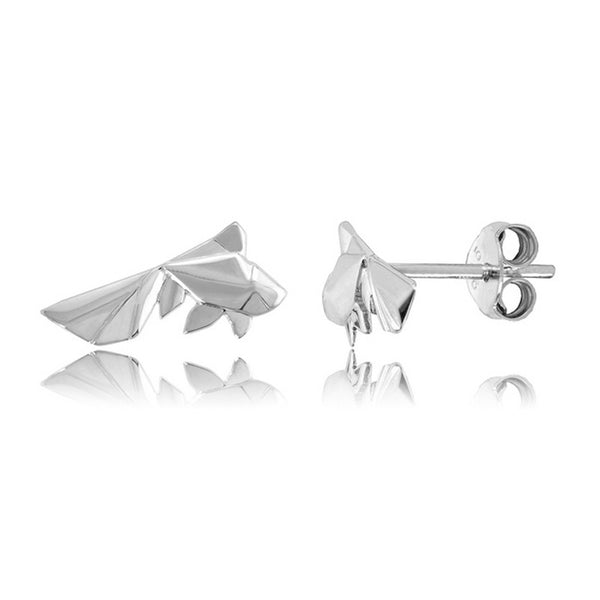 Fish Origami Rhodium Enhanced Sterling Silver Stud Earrings