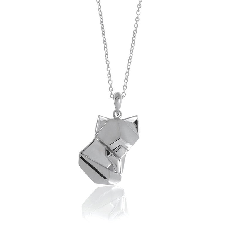 Fox Origami Rhodium Enhanced Sterling Silver Necklace 70-80cm
