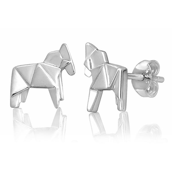 Horse Origami Rhodium Enhanced Sterling Silver Stud Earrings