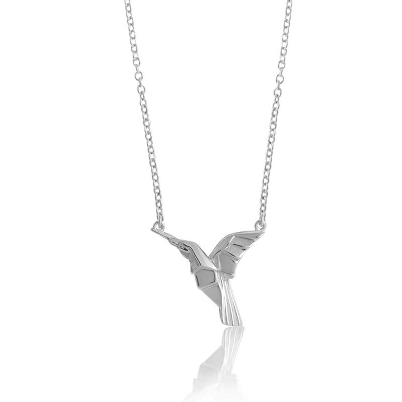 Hummingbird Origami Rhodium Enhanced Sterling Silver Necklace 40-45cm