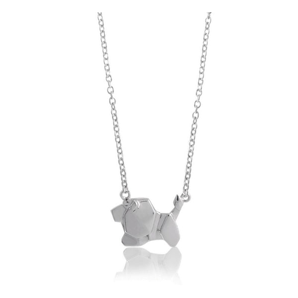 Lion Origami Rhodium Enhanced Sterling Silver Necklace 40-45cm