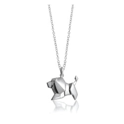 Lion Origami Rhodium Enhanced Sterling Silver Necklace 70-80cm