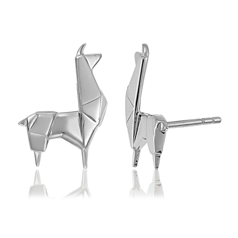 Llama Origami Rhodium Enhanced Sterling Silver Stud Earrings