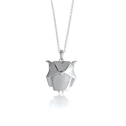 Owl Origami Rhodium Enhanced Sterling Silver Necklace 70-80cm