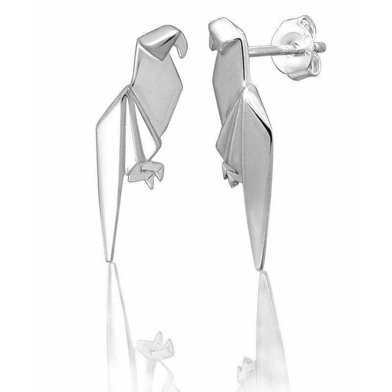 Parrot Origami Rhodium Enhanced Sterling Silver Stud Earrings