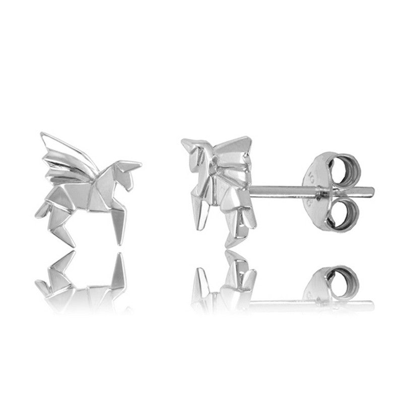 Pegasus Origami Rhodium Enhanced Sterling Silver Stud Earrings