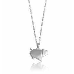Pig Origami Rhodium Enhanced Sterling Silver Necklace 40-45cm